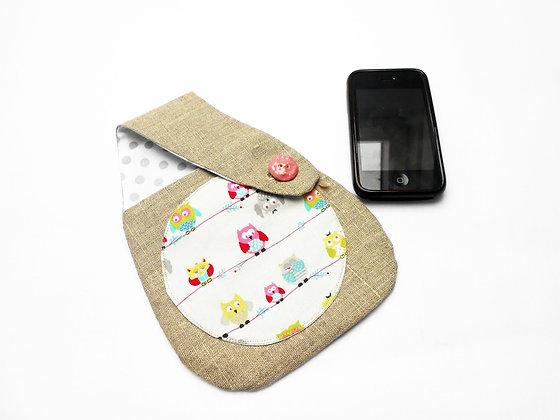 Pochette de ceinture smartphone lin et tissu Hibou