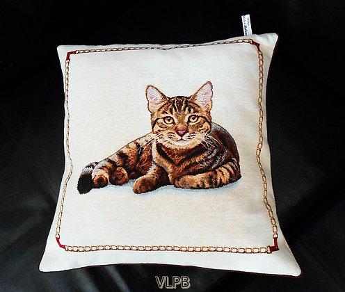 Housse de coussin lin naturel et tissu imprimé chat