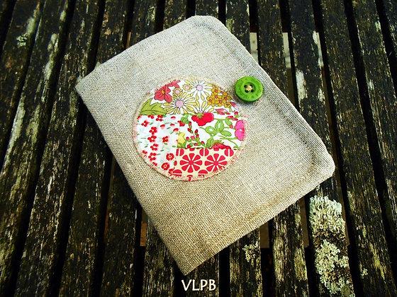 Porte monnaie Porte cartes 2 en 1 lin patchwork de liberty ton rose