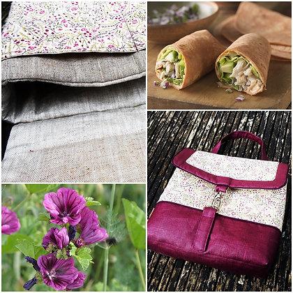 Lunch bag  isotherme lin enduit violet liberty Sarah's scret garden