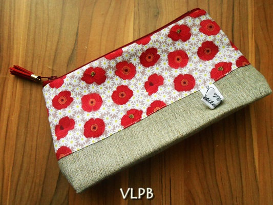 Trousse maquillage lin Coquelicots