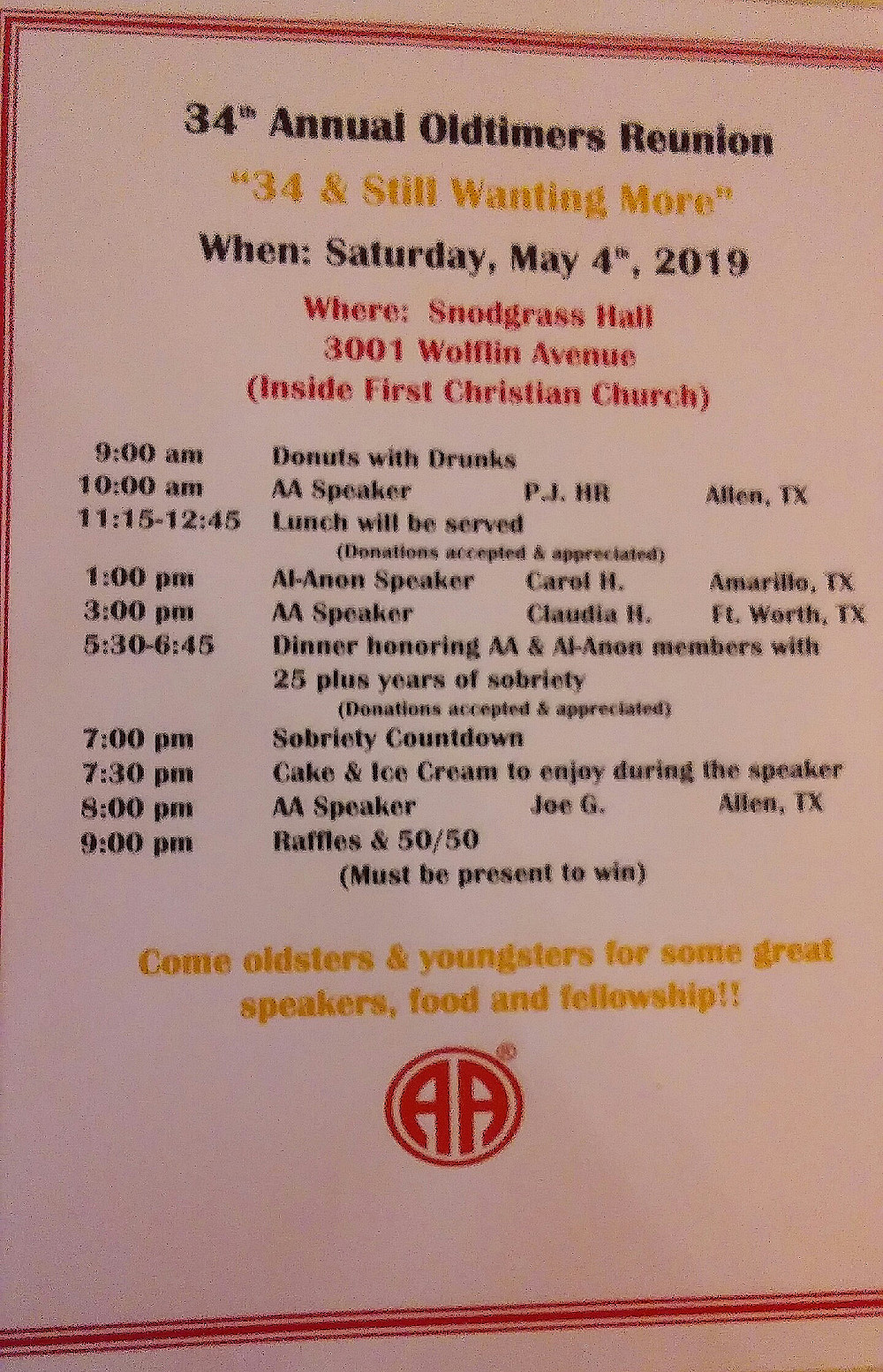 37th Annual Oldtimers Reunion schedule