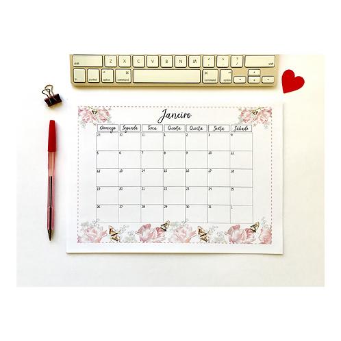 Planner Mensal Flores e Borboletas!