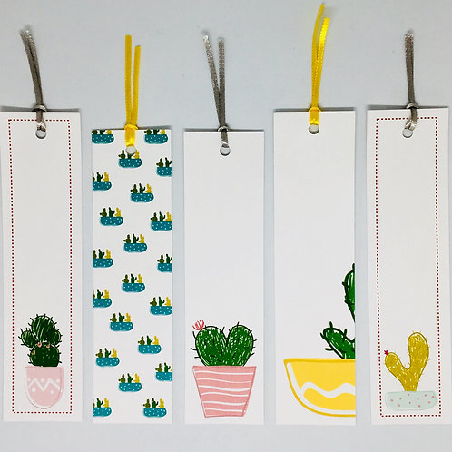 Kit Marcadores de livros Cactus