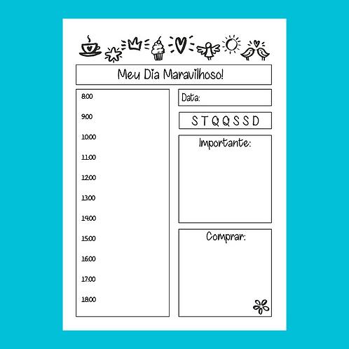 Planner Diário para colorir