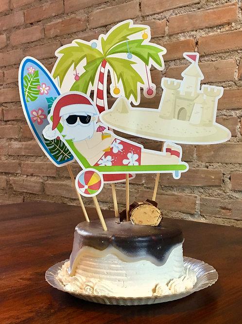 Topo de Bolo Papai Noel praia!