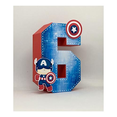 Número 3d Super Heróis Baby!