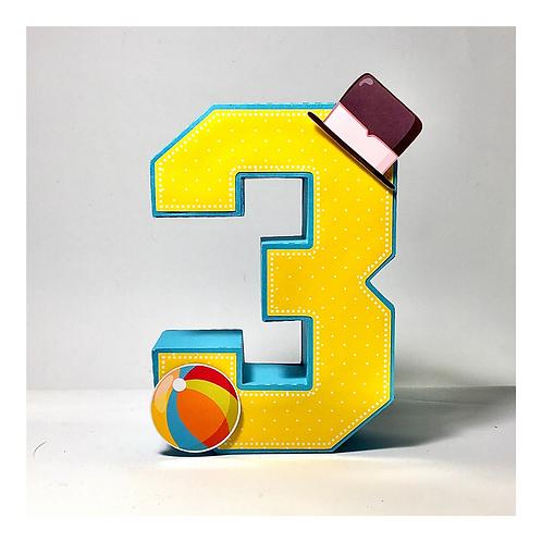 Número 3d papelaria Mundo Bita praia!