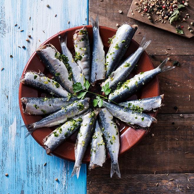 high angle view of some raw sardines, ma