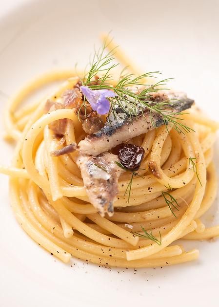 Bucatini, Italian pasta with sardienes,