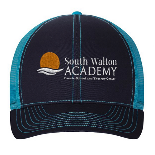Navy and Teal Trucker Style Hat