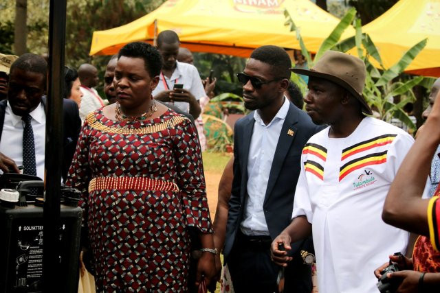 Hon. Mutuuzo, Hon. Kyagulanyi and Hon. Kiwanda at the Uganda International Cultural Tourism Festival at the Uganda Museum)