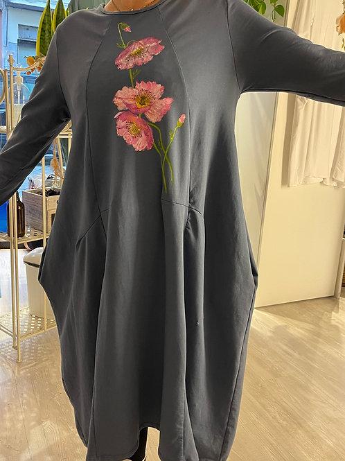 Abito Jersey fiori grandi rosa