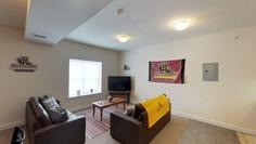 Furnished living rooms.