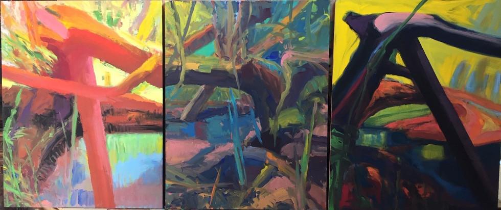 HOUBRE Gilbert-triptyque-trois toiles de