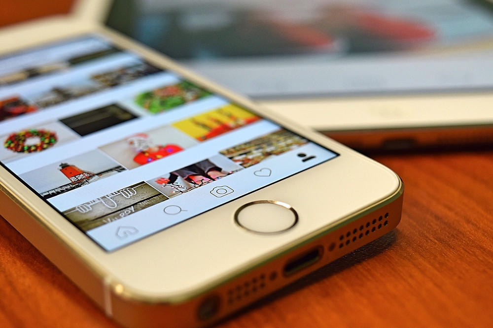 An iPhone displaying Instagram