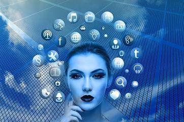 Woman thinking about social media logos