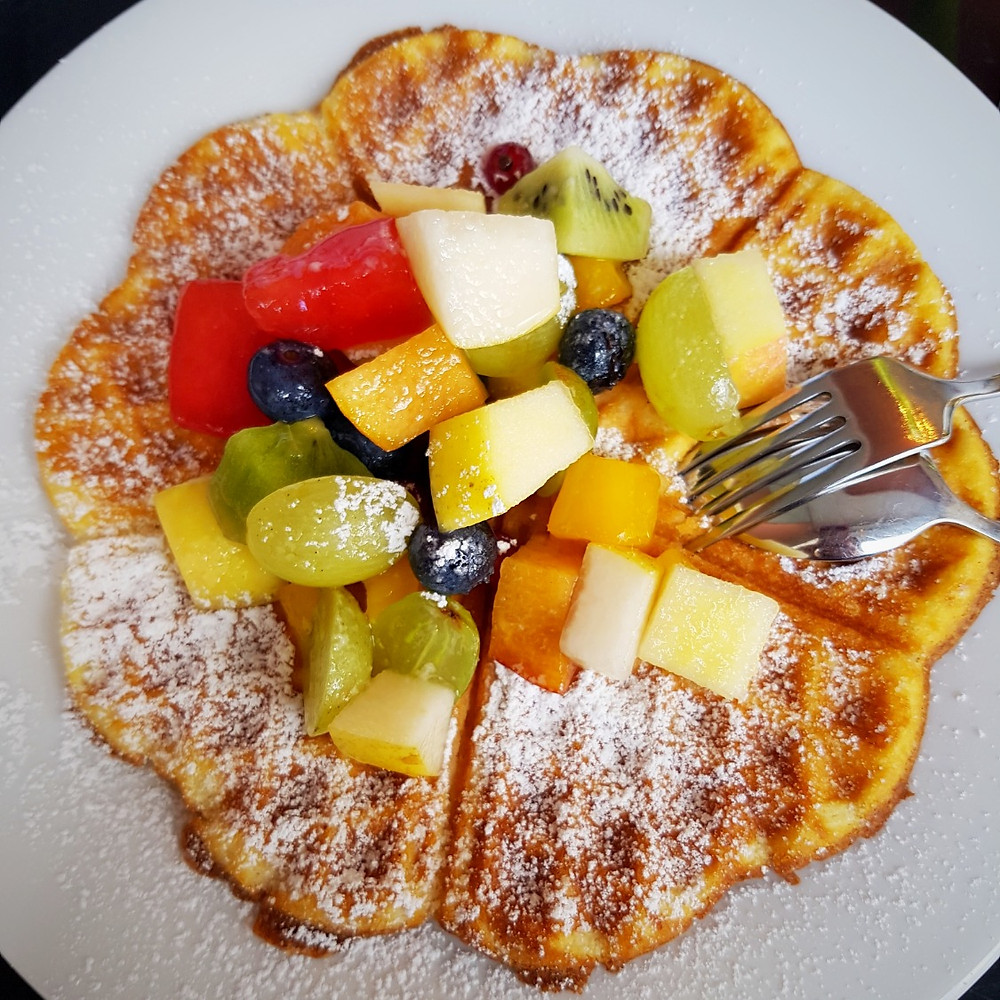Waffles with fresh fruit at Café Stenz