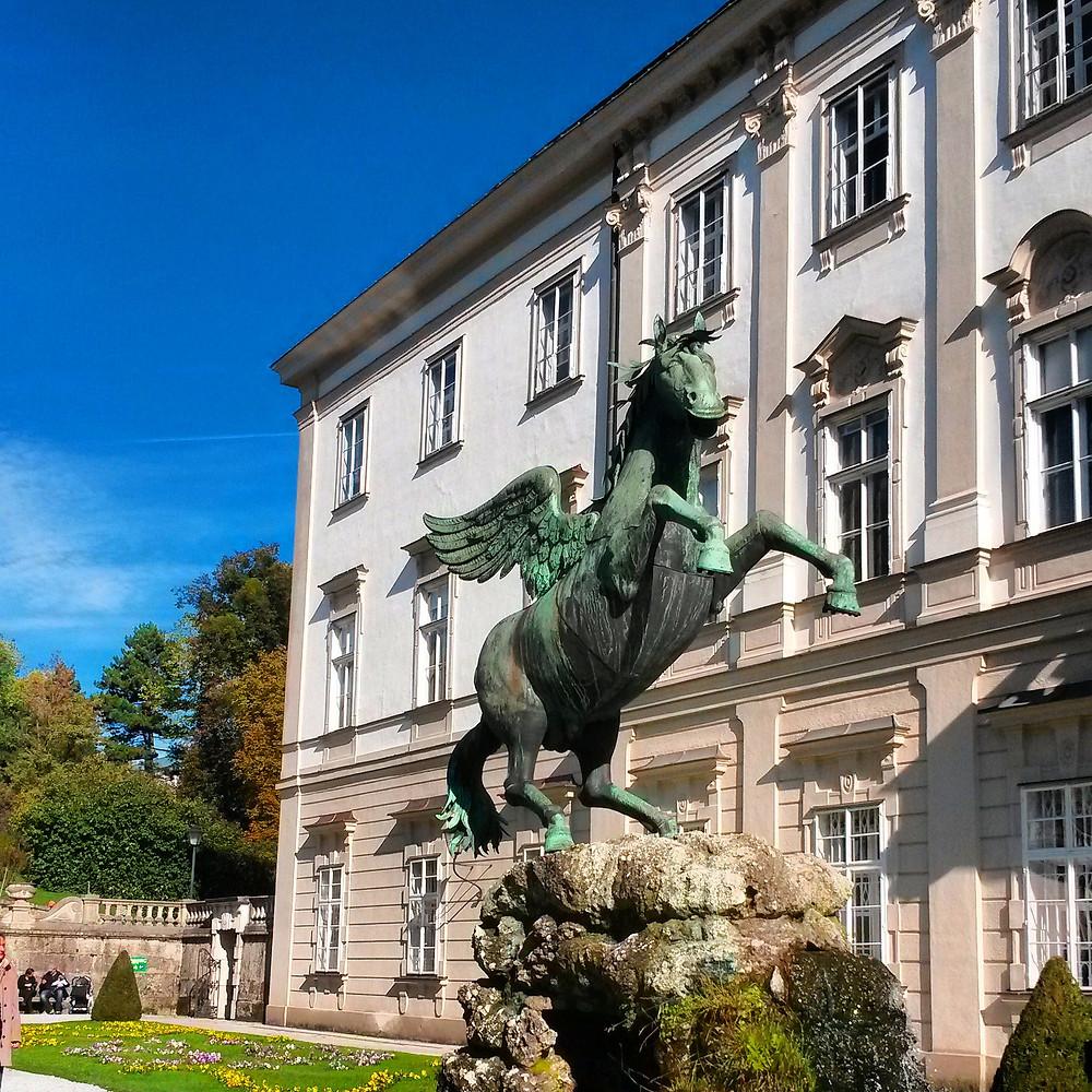 Horse statue in Mirabell Gardens, Salzburg