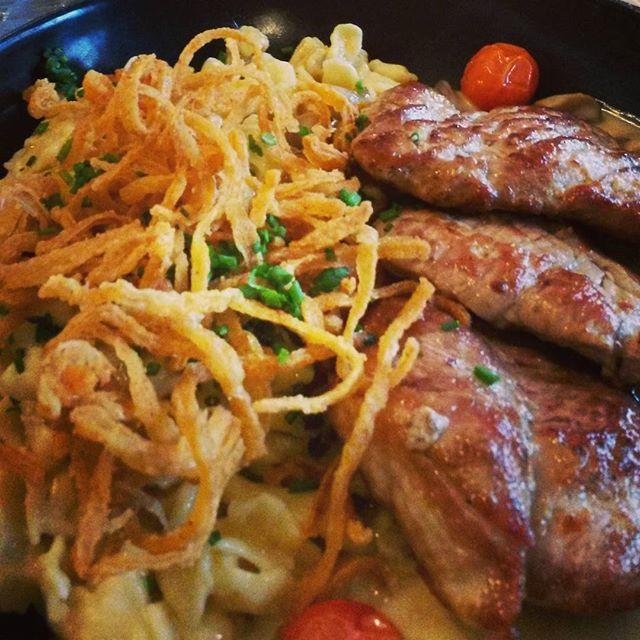 pork and spaetzle at loewenbraukeller in munich