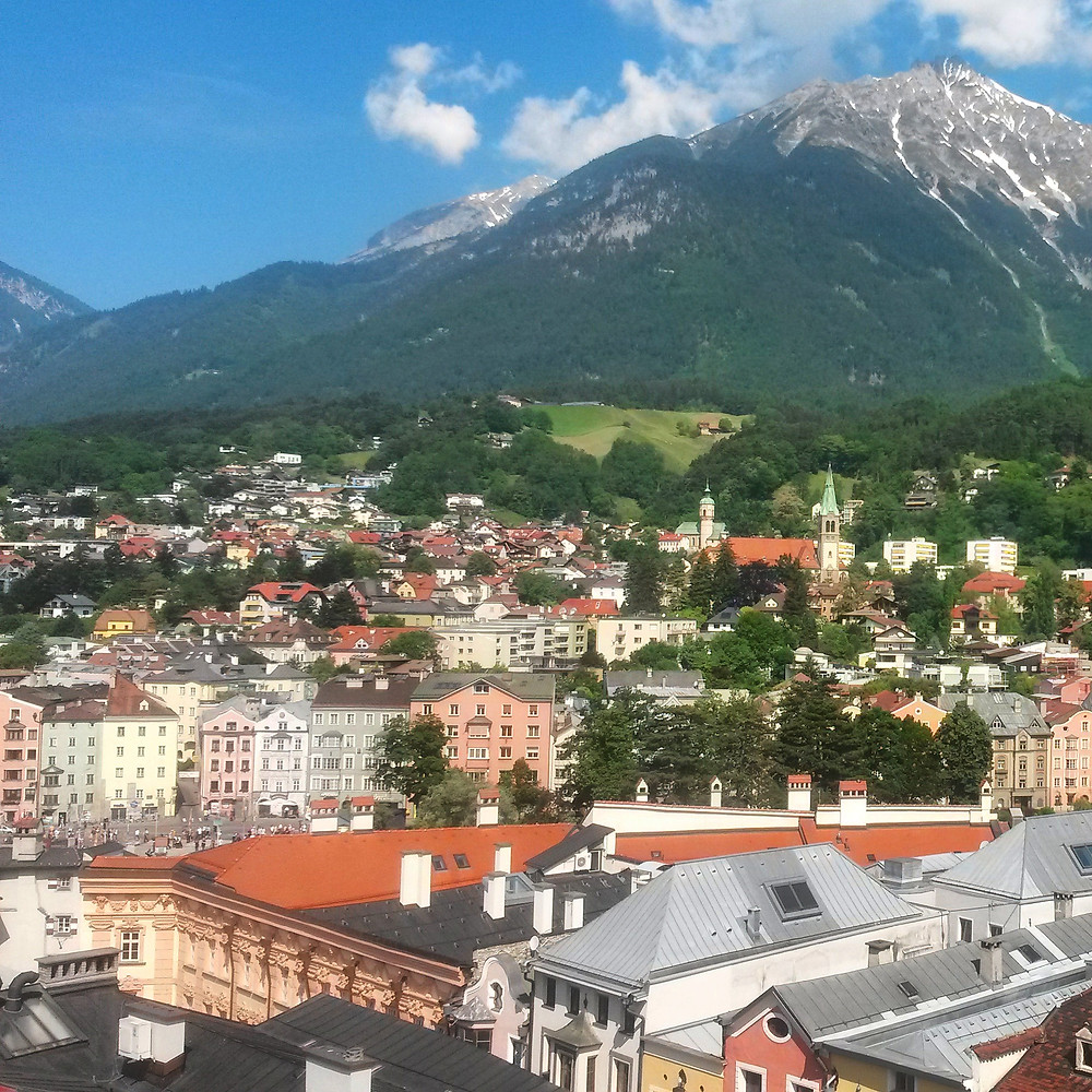 view from medieval city tower in innsbruck