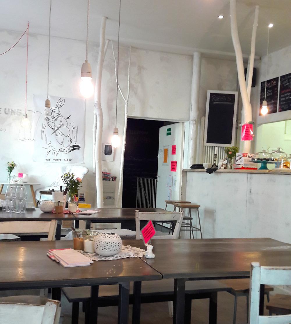 interior design in white rabbit's room cafe munich