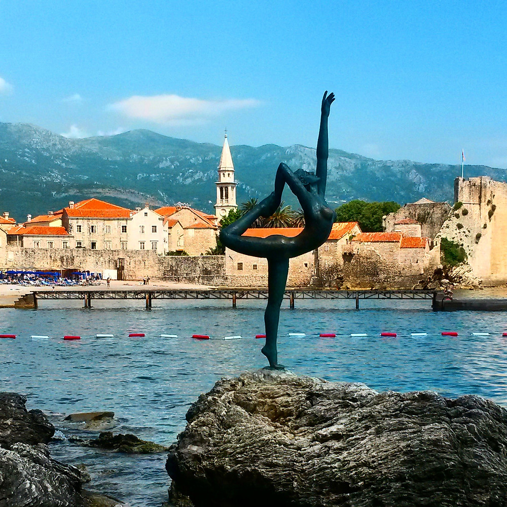 View of Budva Old Town with dancing statue