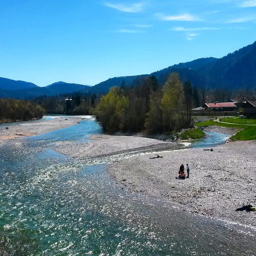 River Isar in Lenggries, Bavaria, Germany