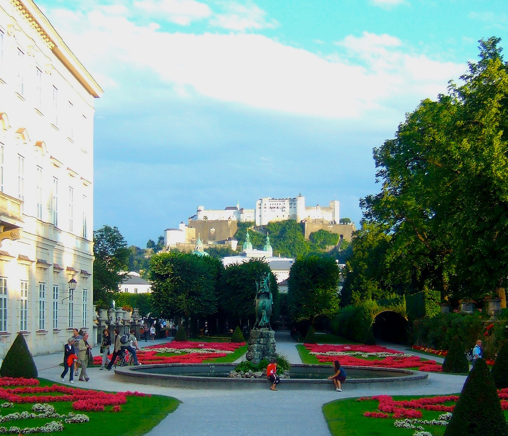 Mirabell Gardens and Salzburg fortress