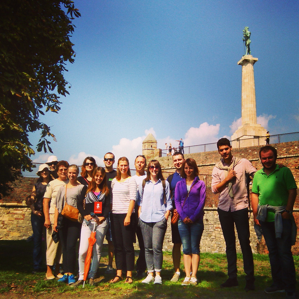 group on a walking tour in belgrade