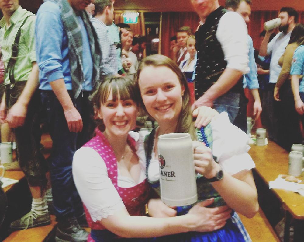 Two girlfriends at Starbierfest in Munich