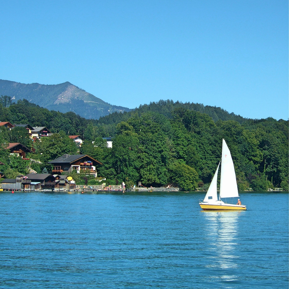 sailing boat on a lake in the Salzkammergut