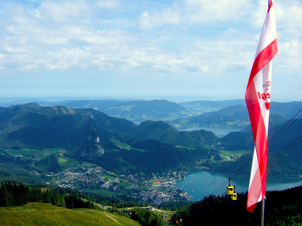 View of Salzkammergut lakes from above