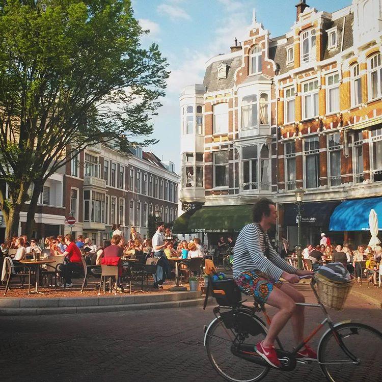 Dutch man riding a bike in The Hague