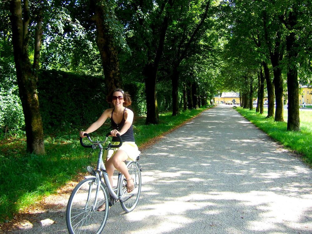 Woman cycling in Salzburg