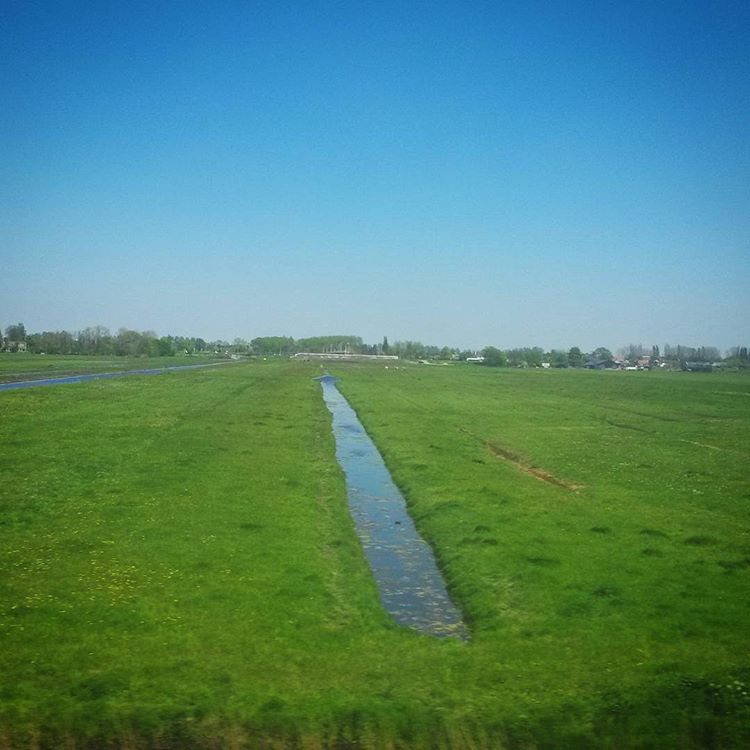 countryside view from the train, The Netherlands