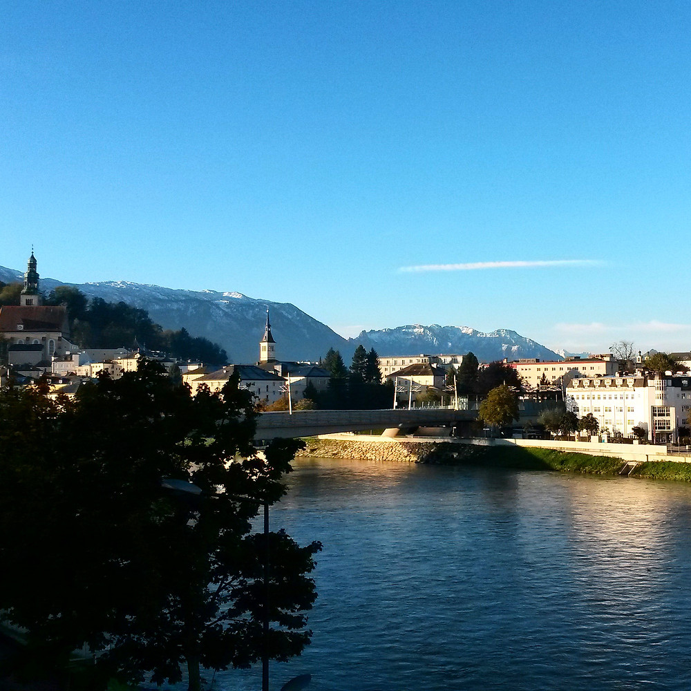 View of Salzburg from the river's edge