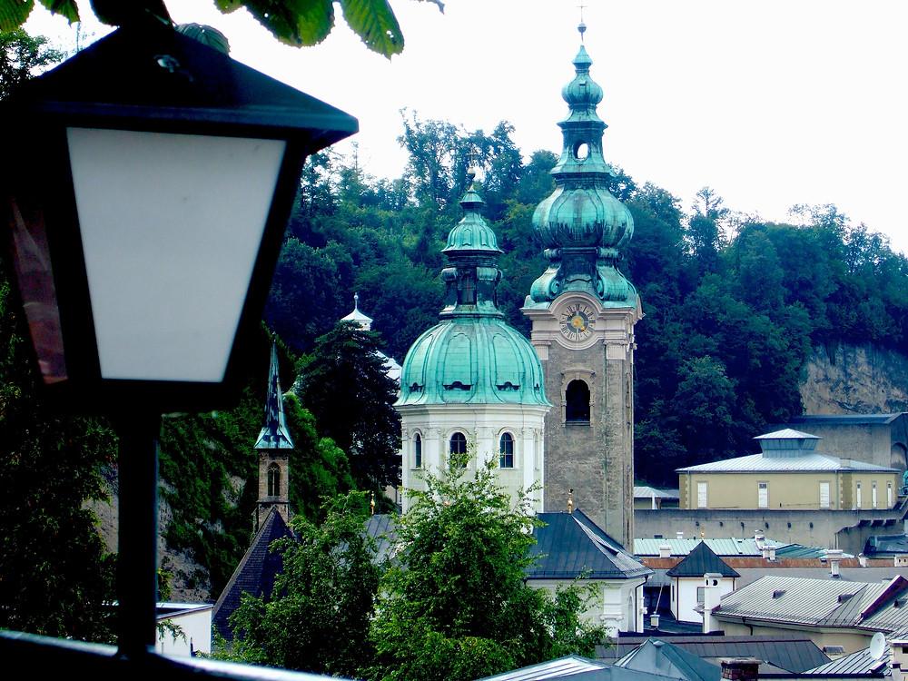View of Salzburg fom Stieglkeller Beer Garden