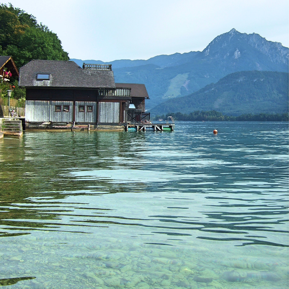 boathouse on a lake in the Salzkammergut