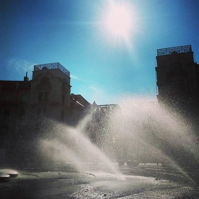 fountains at karlsplatz in munich