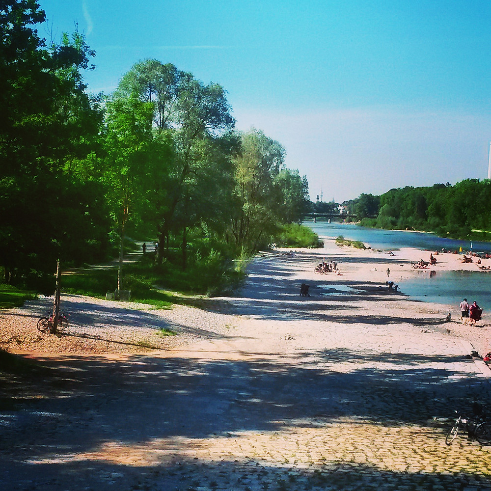 isar river in the summer in munich