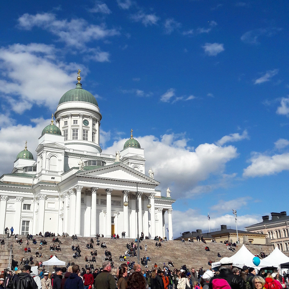 helsinki cathedral with blue skies in may