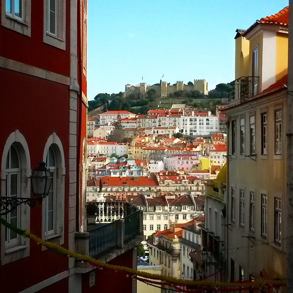 Lisbon winding streets and view of the city