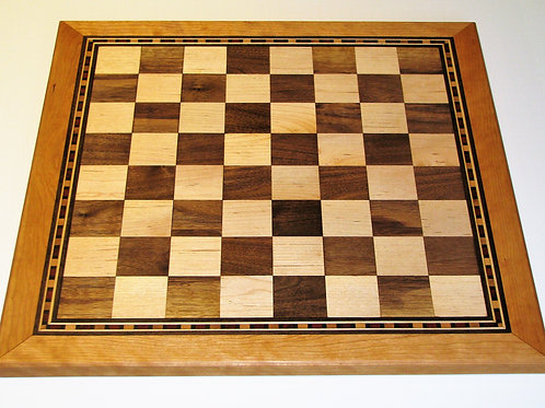 Handmade Wood Chessboard with Border Inlay
