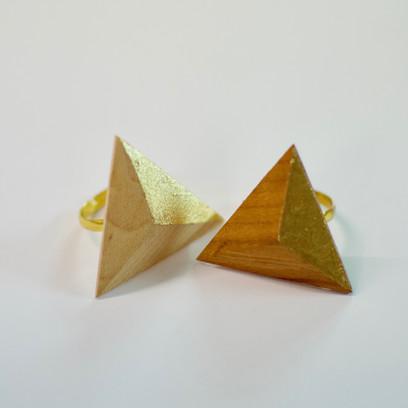 Bague chêne/merisier/or