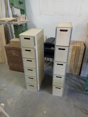 Boites de rangement bois et aluminium
