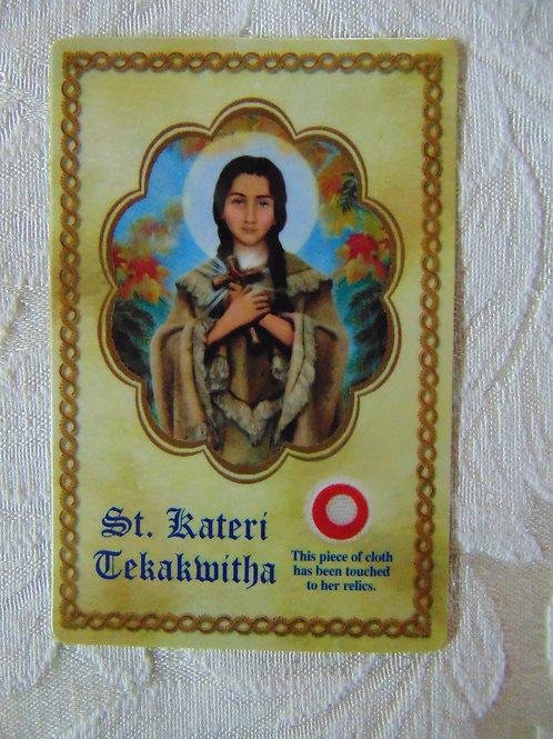 Saint Kateri Prayer Card with Third-Class Relic
