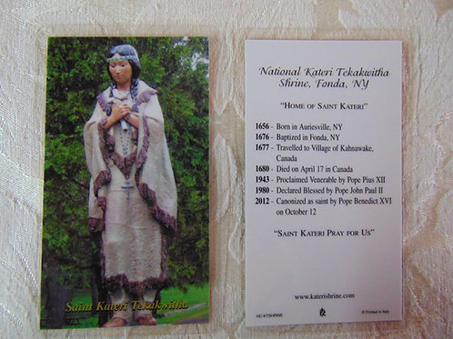 Saint Kateri Prayer Card with Significant Dates