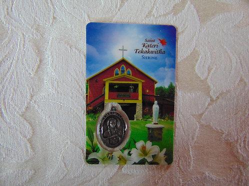 Saint Kateri Shrine Prayer Card with Medal