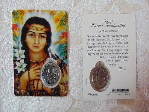 Saint Kateri Prayer Card with Medal